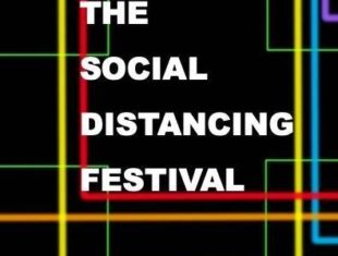 The Social Distancing Festival on a black background with bright multicoloured lines in the back ground.