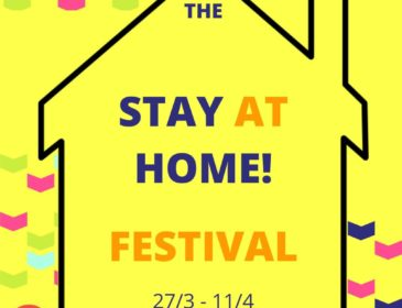 A yellow background with a black outline of a house. Within it reads The Stay At Home Festival 27/3 - 11/4.