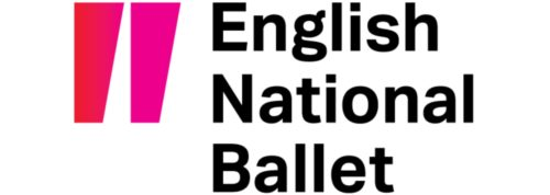 Logo. 2 pink wedge like shapes that represent pointe shoes next to English National Ballet in black.