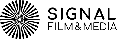 Signal Film & Media Logo. A black and white circle with spines radiating from the centre, to the left Signal, above film & Media. All in black.