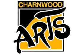 Charnwood in yellow on a black background. Below there is a square with a white outline filled diagonally two thirds with yellow and top third with black. Across this in large black writing with a white outline is Arts.