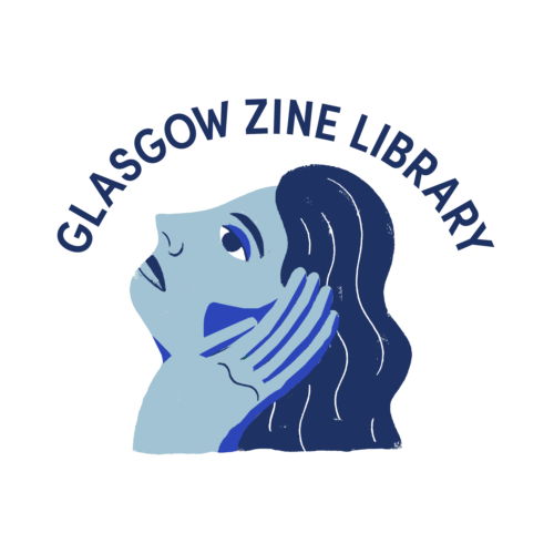 A drawing in blue of a womans head tilted back, hair flowing down her neck. Her had is palm up by her ear. Above reads ' Glasgow Zine Library'.