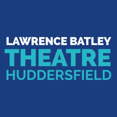 Lawrence Batley in white capitals, above Theatre in larger blue capitals, above Huddersfield in blue capitals. All on a dark blue background.