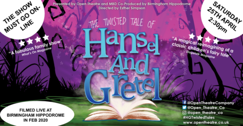 Poster for The Twisted Tale of Hansel and Gretel. A purple background with black outlines of trees and grass, in the foregound that is a book laying on green ground with light and stars busting out of it.