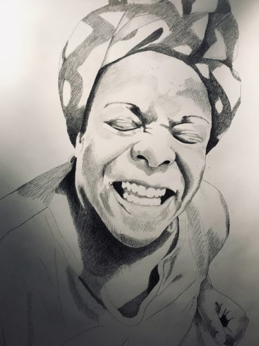 Pencil portrait of !kona a Black activist wearing a headscarf who is closing her eyes and scrunching up her face into an expressive and toothy smile. The portrait is a detailed pencil drawing, and realistic in style.