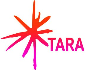 Tara Arts Logo. A hand drawn asterisk next to Tara in capitals. Both fade from orange through red to magenta from top to bottom.
