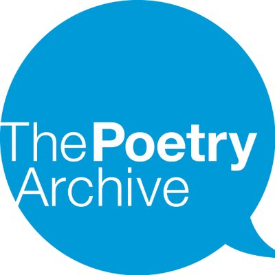 A blue speech bubble containing the words 'The Poetry Archive' in white. Poetry is in bold.