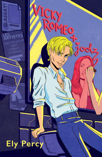 Book cover of Ely Percy's Vicky Romeo Plus Joolz in a comic book style. It shows a white blonde butch woman wearing a shirt and jeans leaning against a bathroom mirror. Reflected in the mirror is a femme woman with long hair, stylistically coloured pink. She is writing the title of the book in lipstick on the mirror.
