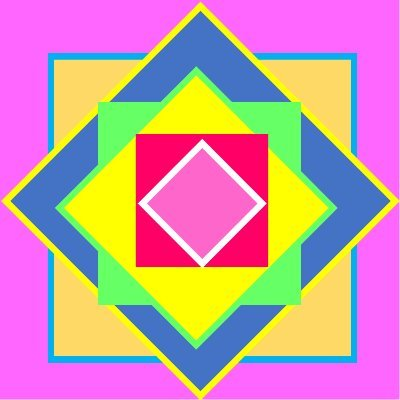 Concentric squares and diamonds of purple, orange, blue, green, yellow and pink.