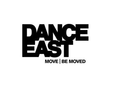 Dance East in black bold capitals. Below reads Move | Be Moved in smaller black capitals.