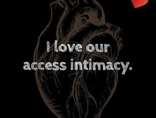 Drawing of an anatomical heart with the initials of the artist above it ('K.A.') against a solid black background with a red heard in the corner. White block text reads: 'I love our access intimacy