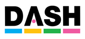 DASH logo. Black lettering with pink circle within the A. Each letter has a bar of colour below, blue, yellow, green and pink