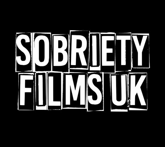 Logo saying Sobriety Films in white with black background in newspaper letters