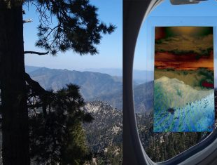 Digital composite image showing mountains, trees and a aeroplane window with a tablet computer superimposed on it. The colours are inverted within the tablet's display
