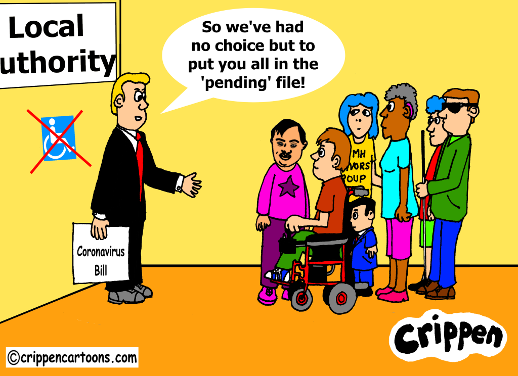 a cartoon about ceasation of services for disabled people