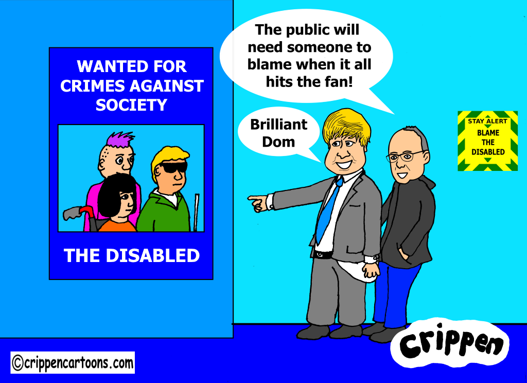a cartoon about the tories blaming disabled people