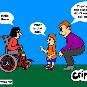 a cartoon about the invisibility of disabled people