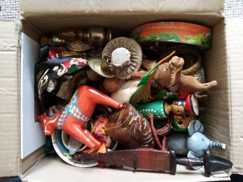 aerial photo of a box full of random objects