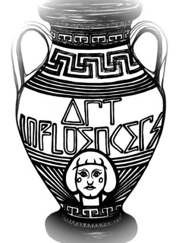 Black and white hand drawn amphora jug. The words Art Influencers are incorporated into the design and a respresentation of artist Grayson Perry