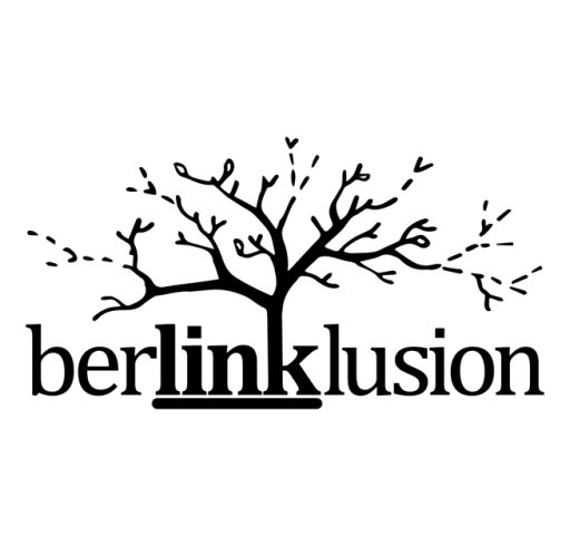 "The Berlinklusion logo shows the word ""Link"" is bold and underlined. The trunk of a tree grows out of the letter ""k"" from the word ""link"", its branches and leaves spread out over the rest of the word Berlinklusion."
