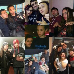 collage of seven photos of young man and his friends