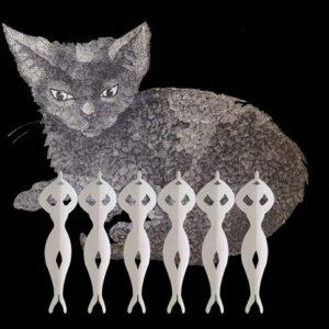 Digital artwork shows a grey kitten lying behind 6 paper cut out ballerinas