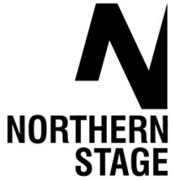 Northern Stage Logo.A large black N which disappears slightly off screen above Northern Stage in black capitals. All on a white background.