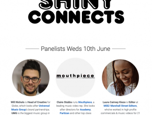 Shiny Connects logo image and pictures of panelists