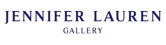 The Gallery logo in rasmus font that says Jennifer Lauren Gallery on a white background