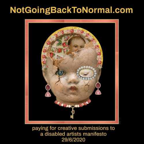 The porcelain head of a doll stands out from a black background. The face is covered in tiny cracks and the top of the head is broken, revealing Victorian scrap paper and flowers inside. One of the doll's eyes is ringed with pearls. It wears drop earrings and a choker decorated with a gold key.
