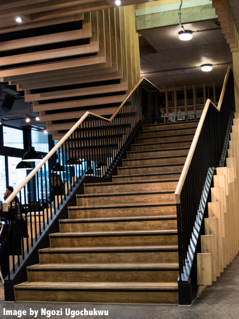 Photo of a large stairwell inside a public building