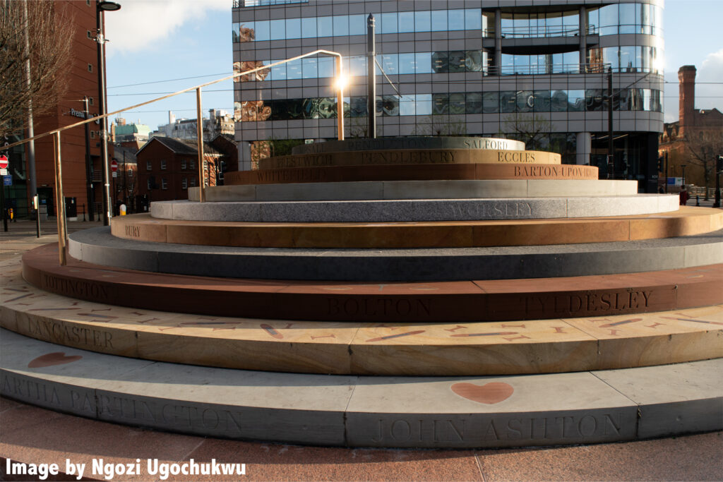 Photo of a circular commemorative series of steps