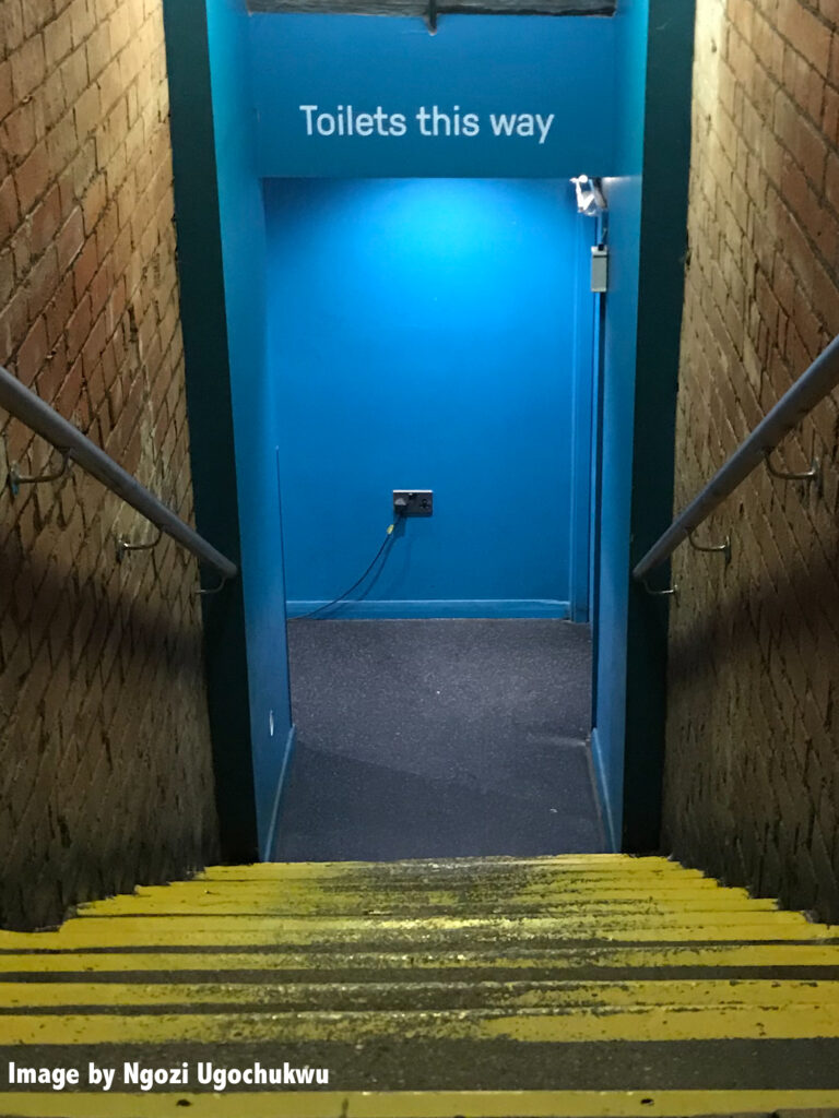 Photo looking down a set of stairs to a blue wall