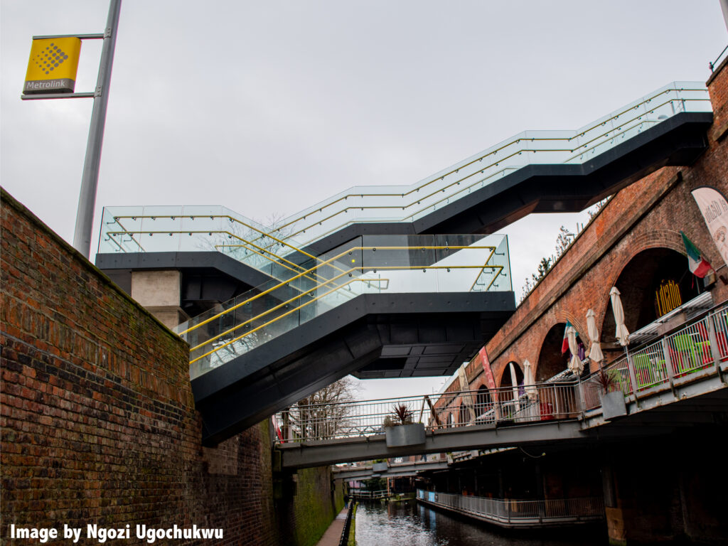 photo of a staircase outside across a canal