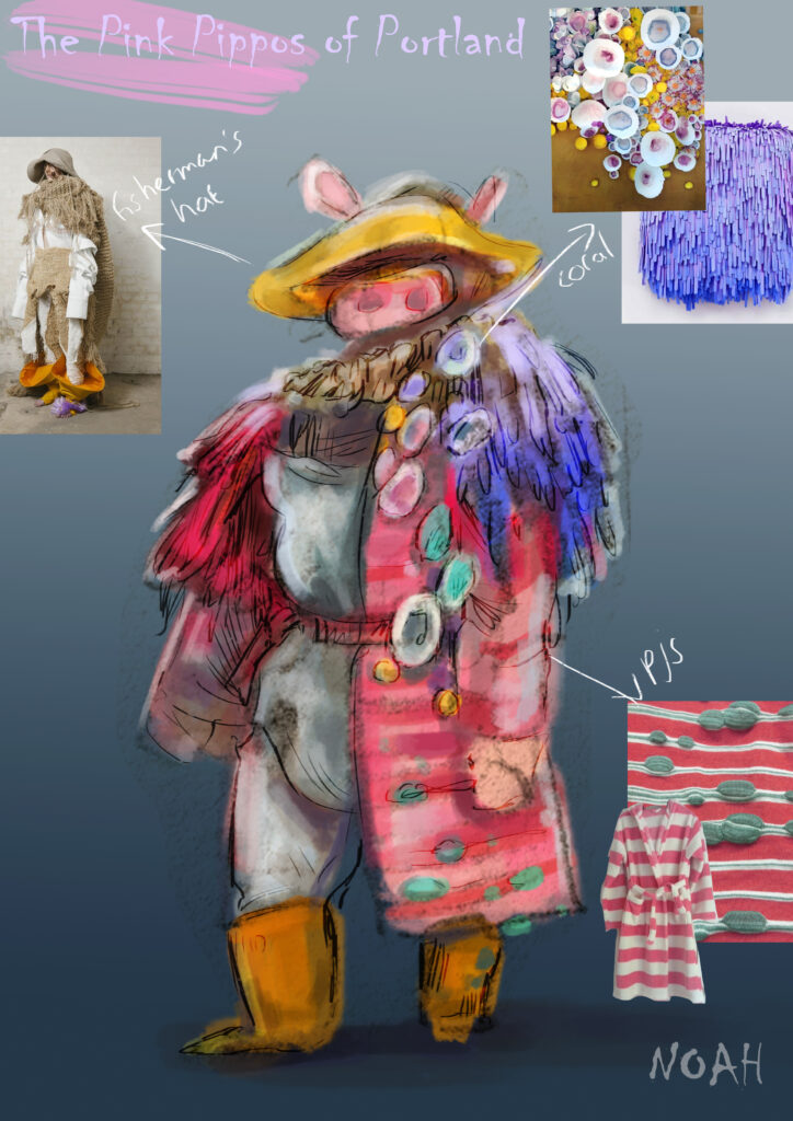 "A digital drawing of a costume design for a mythical creature; The Pippo. Labelled ""Pink Pippos of Portland"", the character is labelled as ""Noah""."