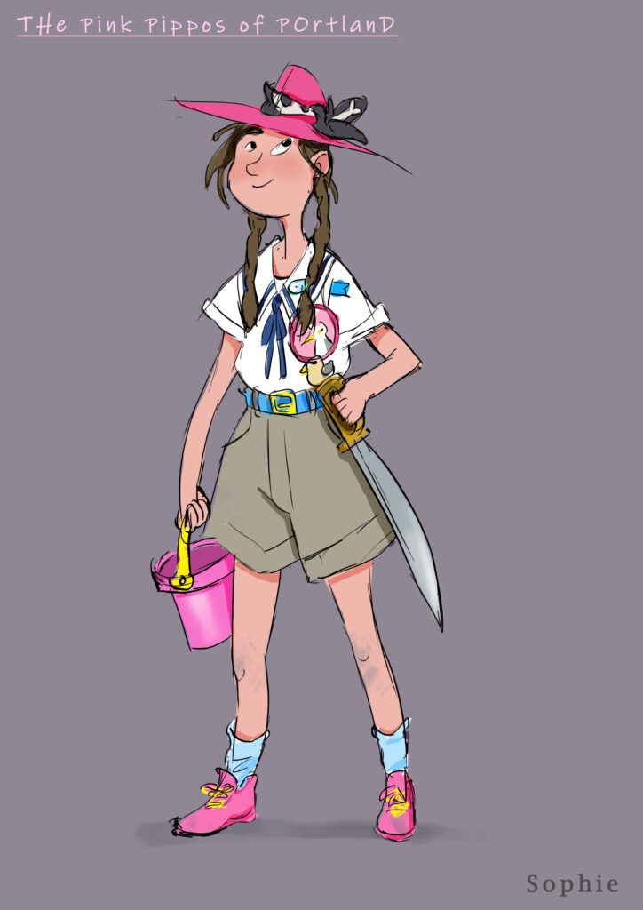"A digital drawing of a character from the play ""The Pink Pippos of Portland"". A young girl, in a scout's outfit, named Sophie."