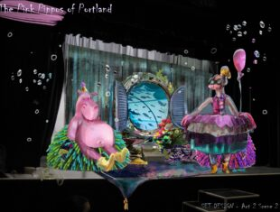 A Digital photo-manipulation depicting a set design on-stage. An underwater setting, with bubbles and coral chairs.