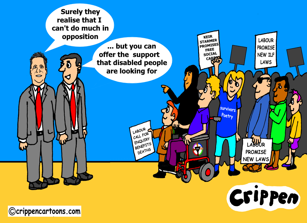 a cartoon about labour leader standing up for disabled people