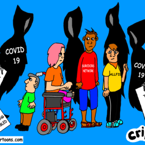 cartoon about covid 19 deaths amongst disabled