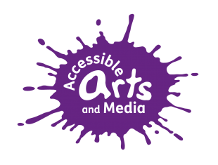 Accessible Arts & Media written in white within a purple paint splat.
