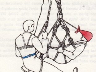 line drawing of a man in a rope harness
