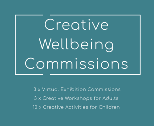 a green square with white text saying 'Creative Wellbeing Commissions. 3 x virtual exhibition commissions. 3 x creative workshops for adults. 10 x creative activities for children.'