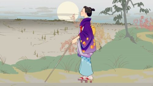 A digitally animated drawing of a blind Japanese woman walking in an open landscape. She is in side profile, wearing a purple and light blue kimono patterned with orange flowers, and holding a stick. The background is shaded in muted browns and greens, and a pale yellow sun looms in the horizon.