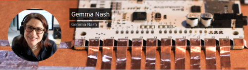Soundcloud banner featuring image of a white woman and a close up of a circuit board