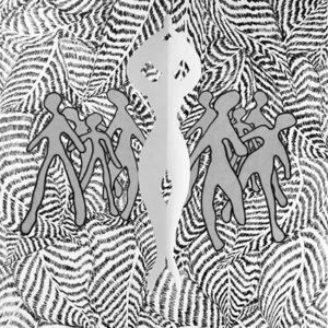 A series of paper figures overlaid on black and white leaves