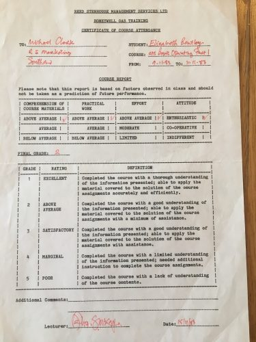my first and only computer certificate 1983