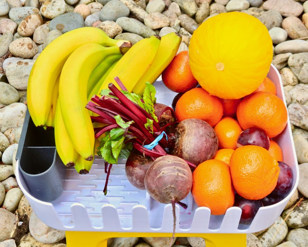 A colourful selection of fruit and veg in a camping stove