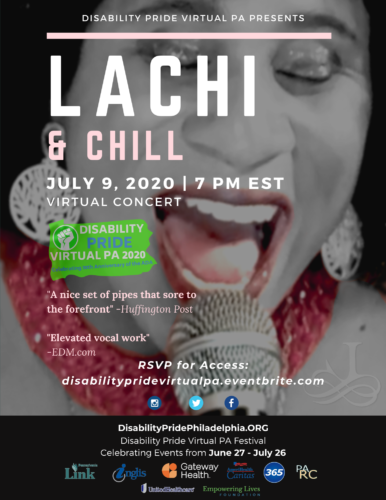 A Flyer of the Event. Event information above a photo of Lachi singing