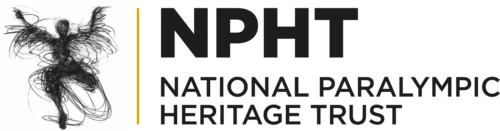 NPHT Logo. A black line sketch of a person with their arms raised in the air. They have one leg. This is next to NPHT in bold black above National Paralympic Heritage Trust in smaller black capitals.