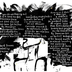 A black and white image of the text from a poem, exploding out of a mans head
